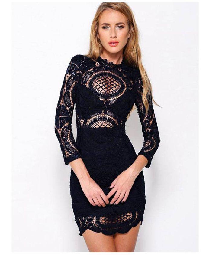 Υπέροχο δαντελένιο μίνι φόρεμα-μαύρο