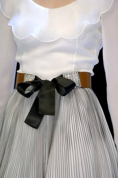 neckline, light ruffle white blouse, gathered skirt, wide, tie belt... yep, that's me (though I own no Valentino!)  Valentino- Haute Couture