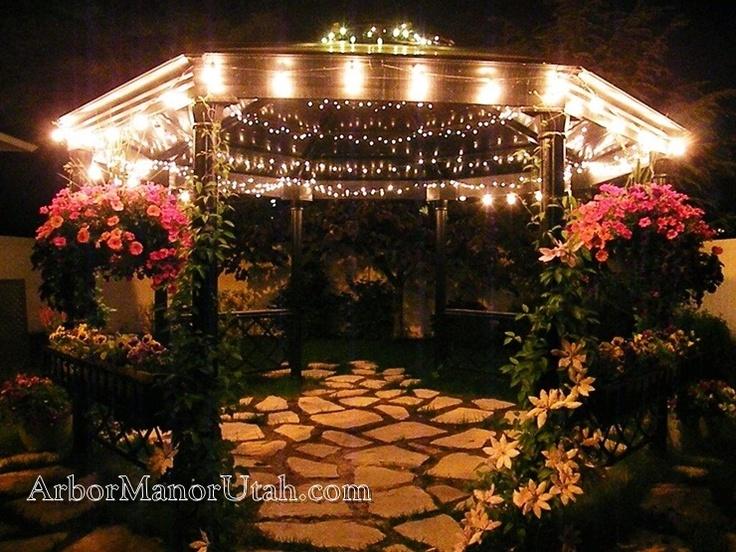 the gazebo at night arbor manor reception center indooroutdoor salt lake city weddings at