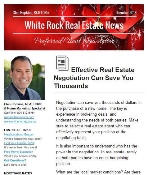 White Rock Real Estate News - December 2016