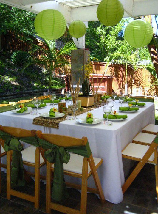 Best 25 green party decorations ideas on pinterest green party luau table - Decoration table salon ...