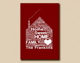 CANVAS PRINT - Personalised Family Word Art - Home Sweet Home Bespoke Print -  Fully Customisable Typography