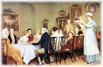 Regency England A Wealthy Family Having Christmas Dinner
