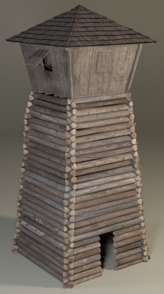 3D model of a wooden guard/watch tower from a medieval/colonial era.