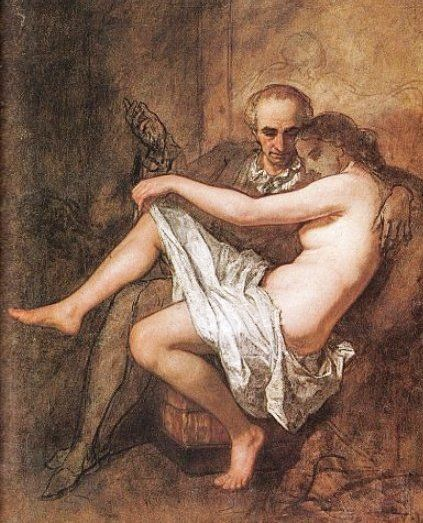 Baudelaire and his muse, Apollonie Sabatier by Thomas Couture
