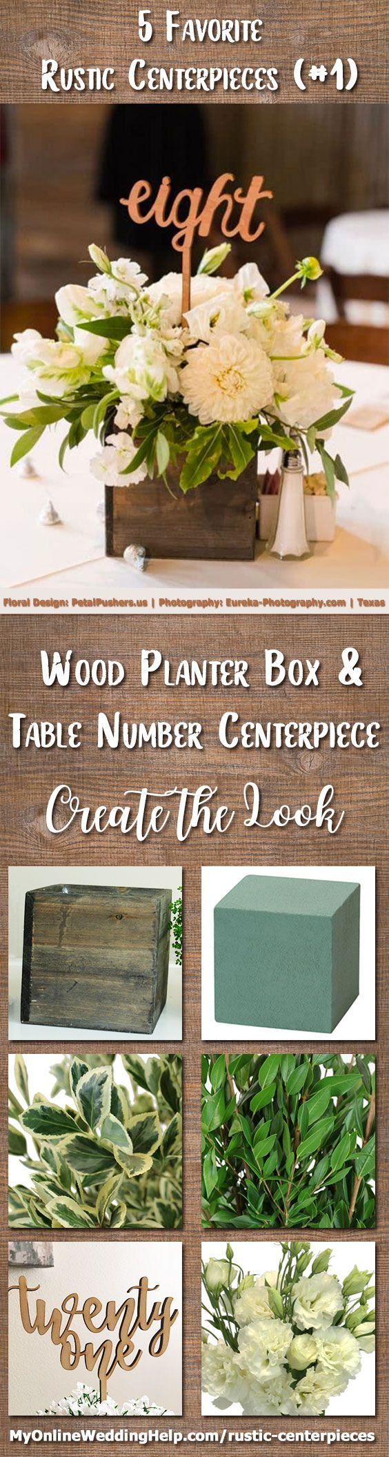 Wood planter box centerpiece with table number. This is a great way to have wedding items do double duty. Arrange flowers in a rustic planter box and add a number pick. If you are not talented in flower arrangements, use baby's breath or hydrangeas. There are links and information on the page on how to DIY your own centerpiece and/or contact the vendors about their services: Floral arrangement by Petal Pushers and photography by Eureka Photography. Austin, Texas.