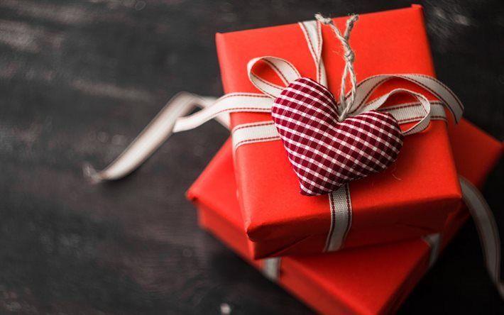 Scarica sfondi Il giorno di san valentino, un regalo, un cuore viola, rosso scatola regalo