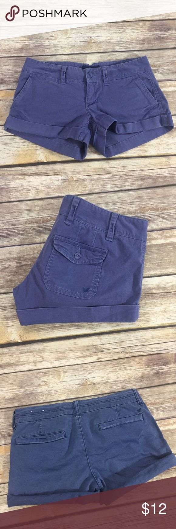 """AEO Navy Blue Chino Shorty Shorts American Eagle Outfitters navy blue Chino Shorts in size 2. Very good condition with no flaws. Made of 98% cotton and 2% spandex. Approximate 2"""" inseam. ⚓️No trades or holds. I negotiate only through the offer button. Any measurements listed are approximate since I am not a seamstress. 🚭🐩T1 American Eagle Outfitters Shorts"""