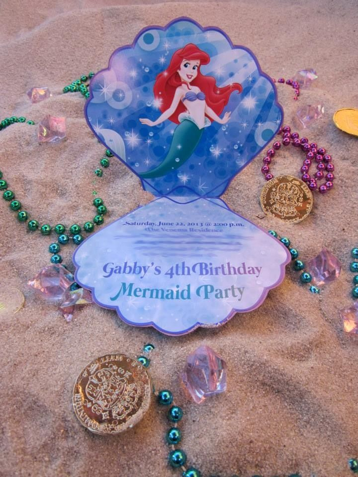 clam invitations i made for my daughters little mermaid birthday party - Little Mermaid Party Invitations