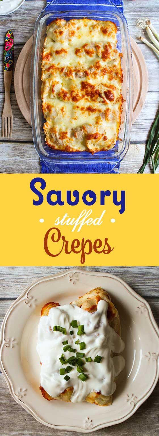 Savory crepes stuffed with chicken and mushrooms, topped with melted cheese and sour cream!