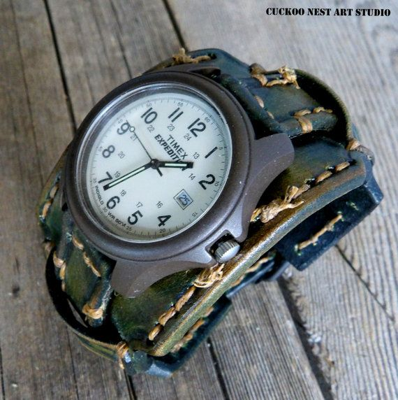 Military style watch, Green Leather Watch Cuff, #accessories #watch @EtsyMktgTool http://etsy.me/2A1ZbjU #leatherwatch #wristwatch #watch