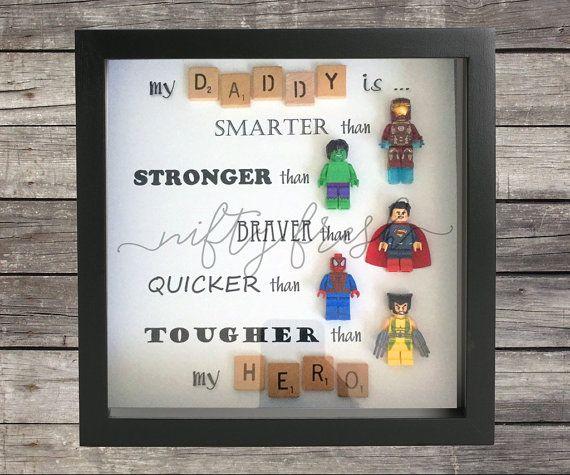 Umrahmt von Superhelden Lego kompatibel Minifigur Wanddisplay