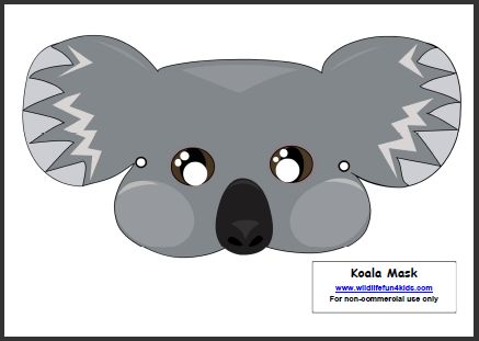 Free Printable Koala Mask- click on the image to download- Save as!