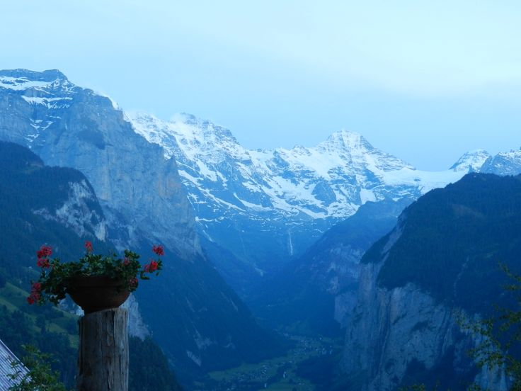 Early morning looking over the Valley from the Village of Wengen, Switzerland.