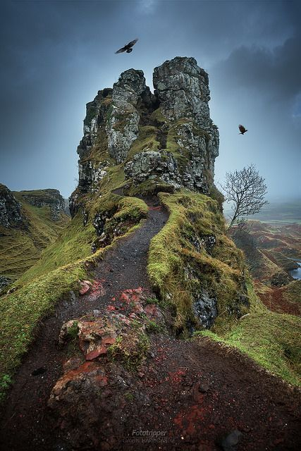 ~~The Fairy Glen - Isle of Skye | two crows fly over the misty Scottish Highlands, Scotland, UK | by Gavin Hardcastle - Fototripper~~