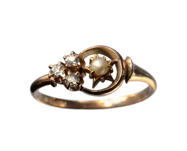 Late 1800s Victorian Pearl and Diamond Crescent Ring    I think this may be the ideal wedding ring.  What better emblem to a union than the moon - it goes through phases, just like a relationship, but is always beautiful.
