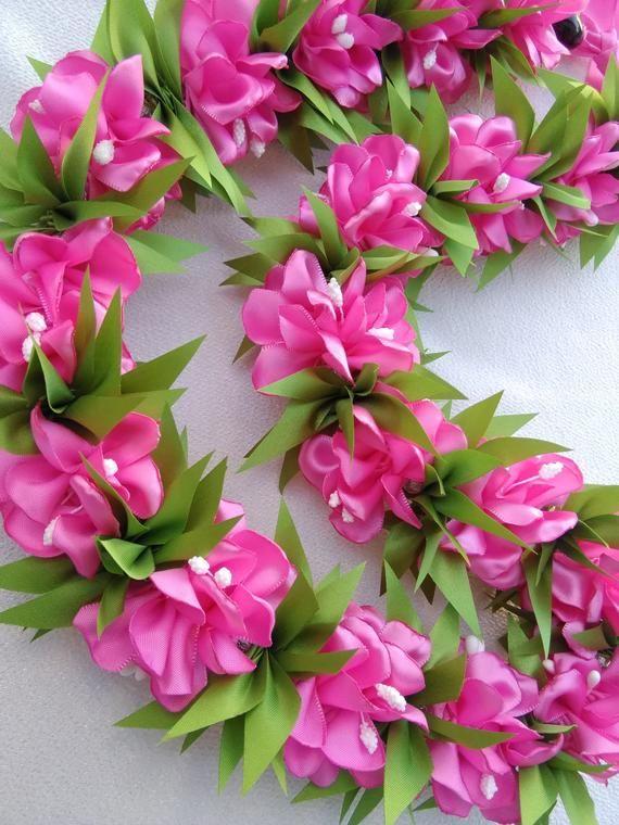 Pink Azalea Hawaiian ribbon lei