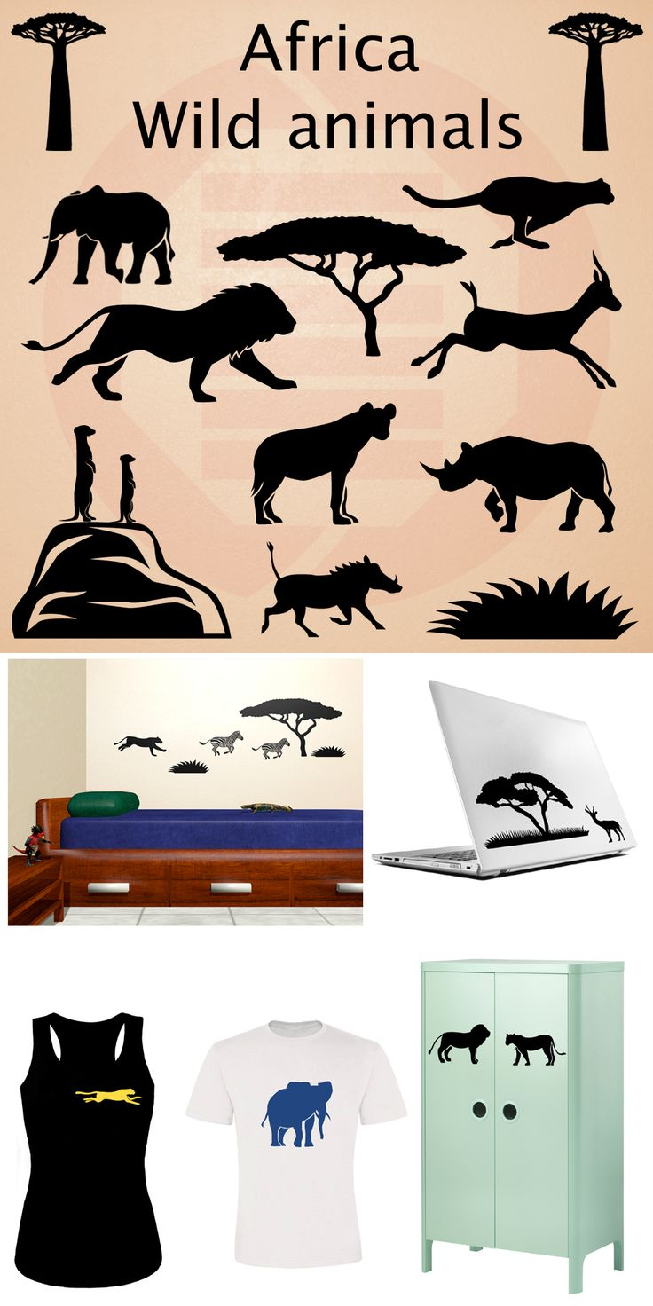 Set of african animals silhouettes / Set de siluetas de animales de africa #wildanimal #wildlife #africa #silhouette #hakunamatata #lionking #cheetah #lion #lioness #meerkat #elephant #etsy #decal #svg #clipart #ornament #homedecor #diy #animales #decoracion #siluetas #leon #elefante #jirafa #cebra