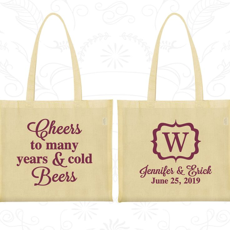Cheers to Many Years and Cold Beers, Custom Gift Bags, Monogram Wedding Bags, Monogrammed Bags, Tote Bag Personalized (242)