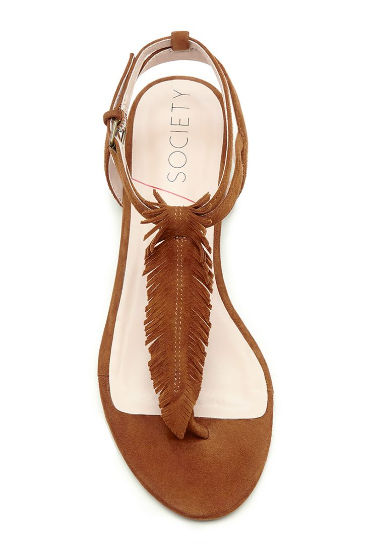 A feathery twist on the classic T-strap sandal | Sole Society Mara