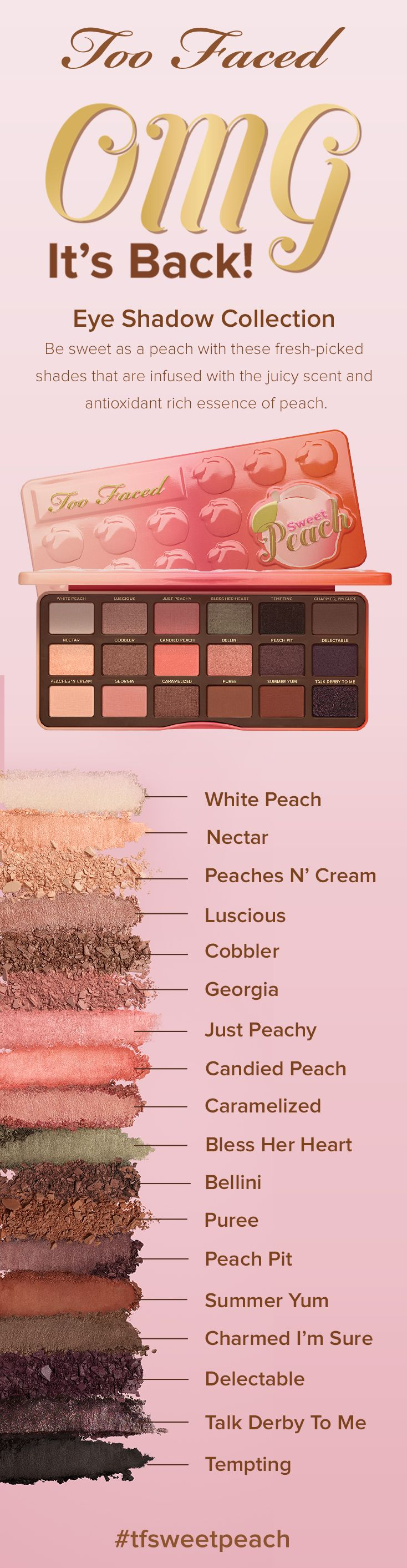 I love this palette. Smells peachy and the colors come on smooth with great pigmentation