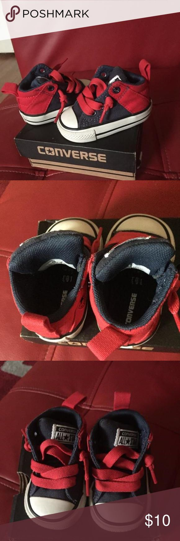 Mid top Chucks Super cute and darn near brand new mid top chucks they are navy/red and are a staple in any little boy closet.  The box is included. Converse Shoes