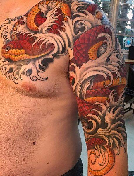 5309f232b 70 Snake Tattoos For Men - Venomous Bite Of Idea Inspiration | Tattoos | Snake  tattoo, Tattoos for guys, Tattoos