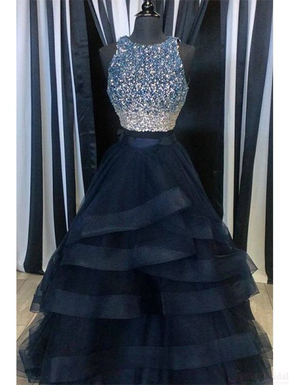 Great A Line Beading Bodice Layers Long Prom Dresses Evening Dresses #SIMIBridal #prom…