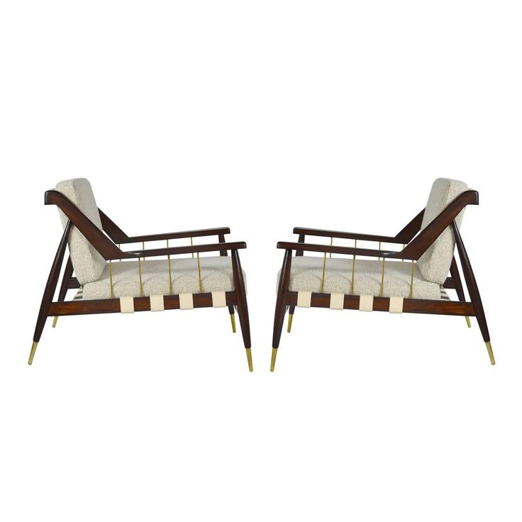 Rare Edmond Spence Strapped Lounge Chairs   From a unique collection of antique and modern armchairs at…