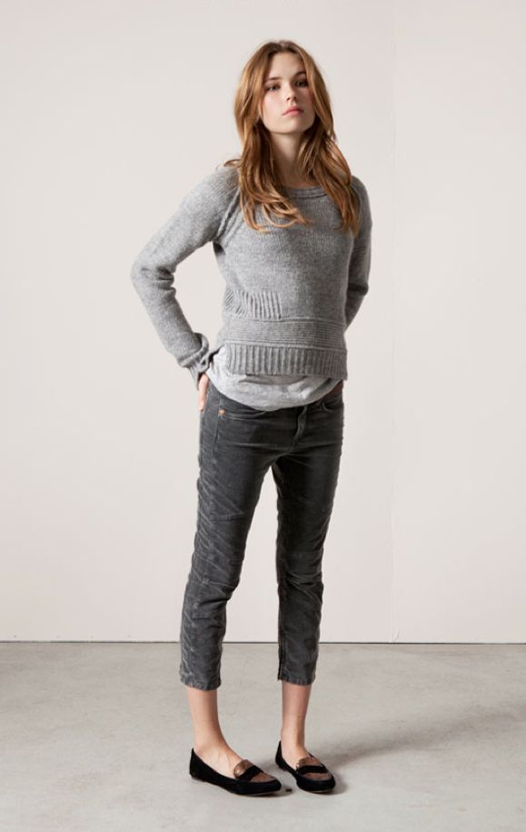: Fashion, Casual Outfit, Grey Sweater, Style, Fall Outfit, Cropped Cords, Gray, Fall Winter