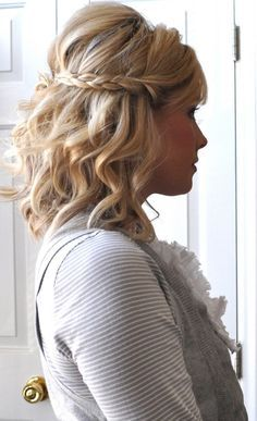Beach waves and a braid for short hair, probably with a little less poof on top though