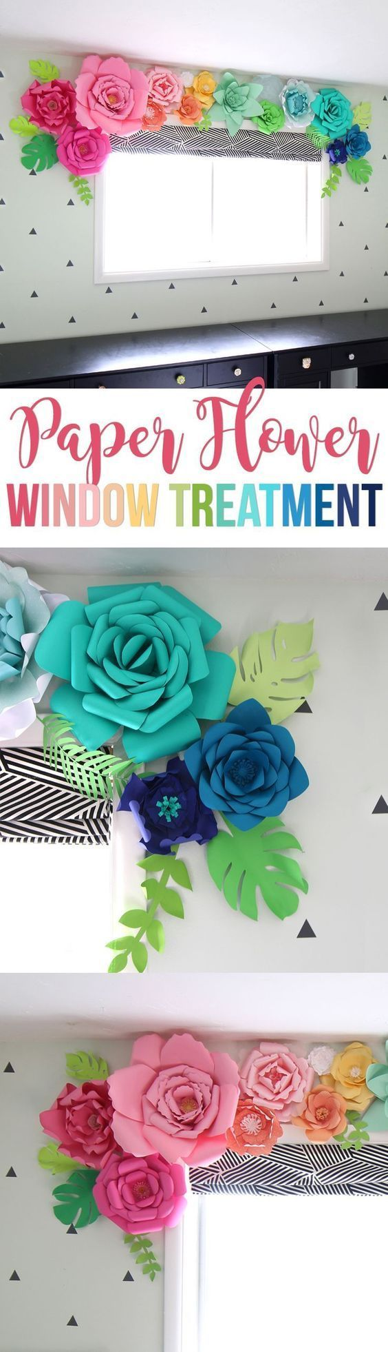 Create a whimsical, colorful and unique window treatment using giant paper flowers. So cute for a little girls room! Or use the same idea for a party backdrop. Free paper flower templates and Silhouette Cameo or Portrait cut file.