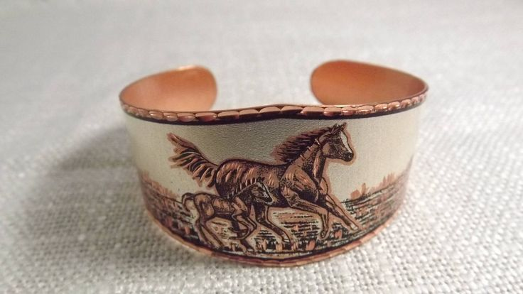 Vintage Copper Cuff Horse Bracelet, Horse and Colt Cuff, Wild Horses, Equestrian Jewelry, Copper Jewelry, Cowgirl Jewelry, Country Wedding by OutrageousVintagious on Etsy