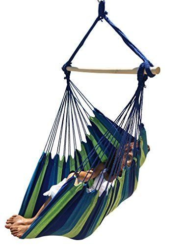 Large Brazilian Hammock Chair by Hammock Sky(TM) - Quality Cotton Weave for Superior Comfort & Durability - Extra Long Bed - Hanging Chair for Yard, Bedroom, Porch, Indoor / Outdoor (Blue & Green Stripes) Hammock Sky