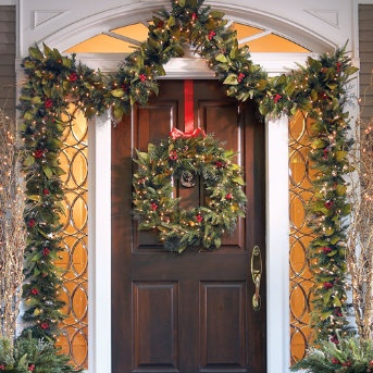 27 best images about christmas front door ideas on pinterest front porches front doors and for Exterior christmas garland with lights