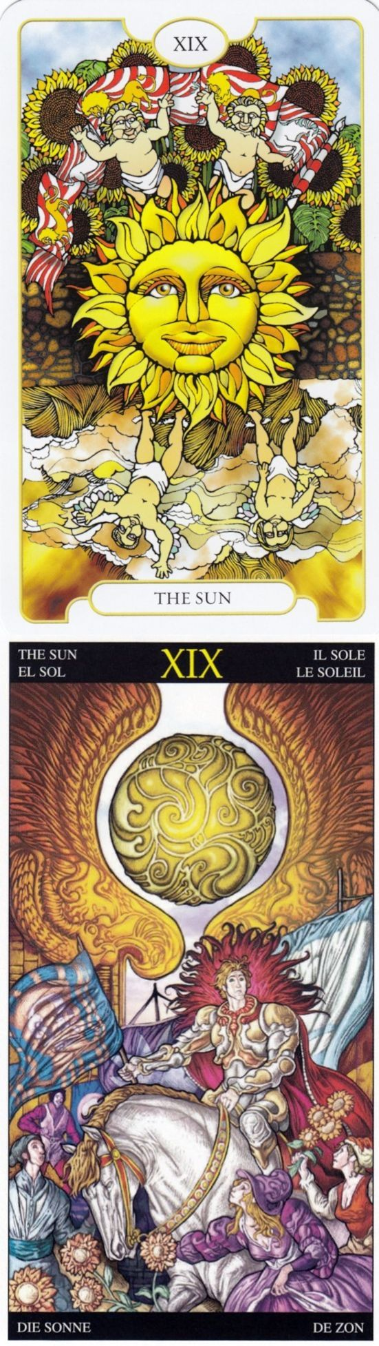 THE SUN: clarity and depression (reverse). Revelations Tarot deck and Universal Fantasy Tarot deck: instant tarot, tarot live yes or no and free tarot reading uk. New playing cards and halloween decorations. #pagan #intuition #oldways #hierophant
