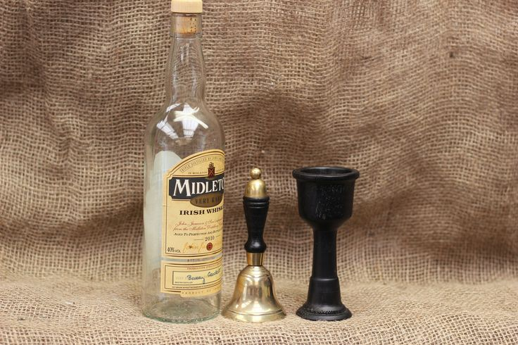 Irish bog oak toasting goblet and bell, toastmasters set Kildare bog oak and brass. by MilllaneArt on Etsy