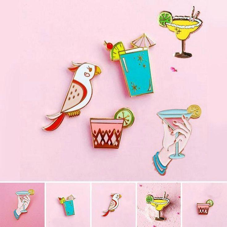 Hot Beach Style Cute Parrot Birds Summer Drink Metal Brooch Kid School Cartoon Pins Button Pins For Women Girl Jewelry