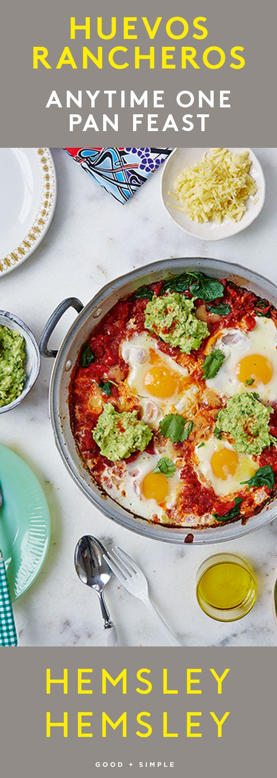 We love pasture reared eggs for breakfast, lunch and supper and this satisfying dish also makes a favourite weekend brunch. It comes together in no time at all, leaving you plenty of time to potter around, read the papers, and relax. The fiery rich red sauce with the cool and creamy smashed avocado is a delicious combo. From our bestselling second cookbook Good + Simple, and as seen in Eating Well with Hemsley + Hemsley, Mondays at 8pm on Channel 4 - starting 2016, May 9.