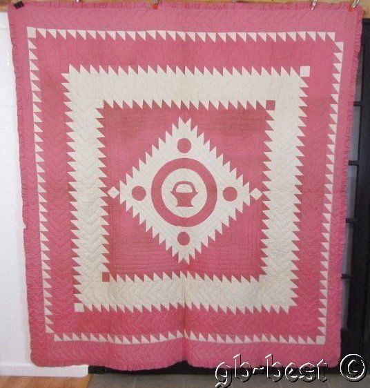 Oh My! a Rare 30s Center Sawtooth Diamond Basket Antique QUILT 88 x 78 PINK, eBay, gb-best