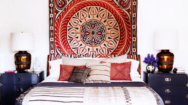 African Headboard for bedroom- creates colour