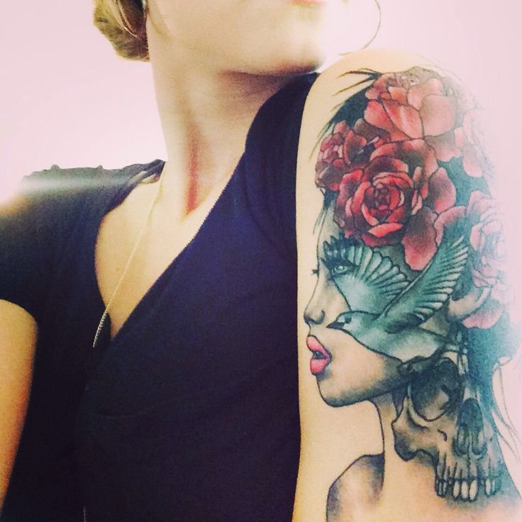 Aahhhhh i love my tattoo girls face with rose hair a for My tattoo girls
