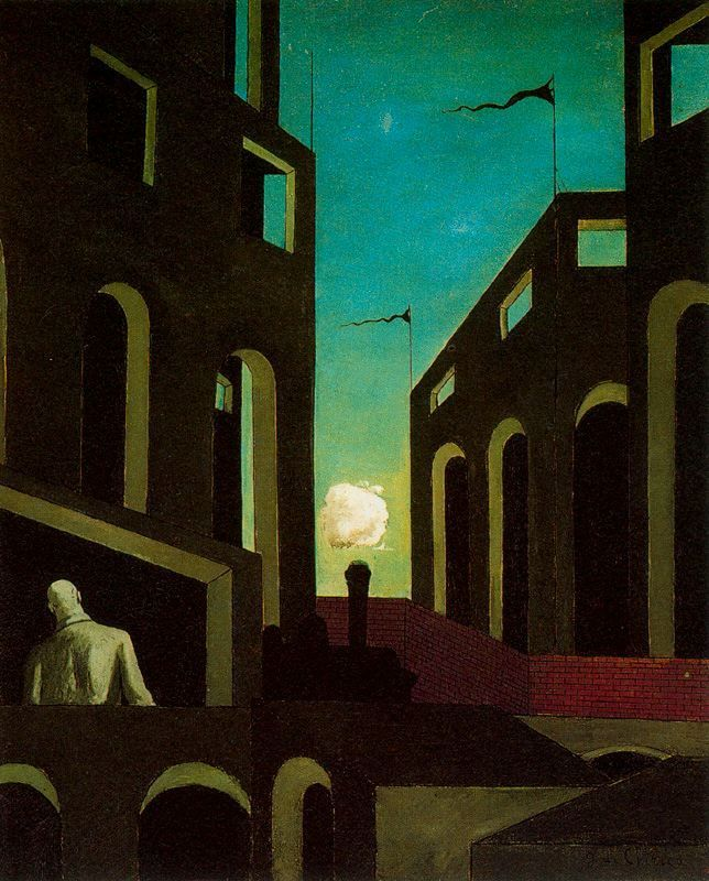 Giorgio De Chirico, 1914 http://www.wikipaintings.org/en/giorgio-de-chirico/gare-montparnasse-the-melancholy-of-departure-1914#supersized-artistPaintings-194462