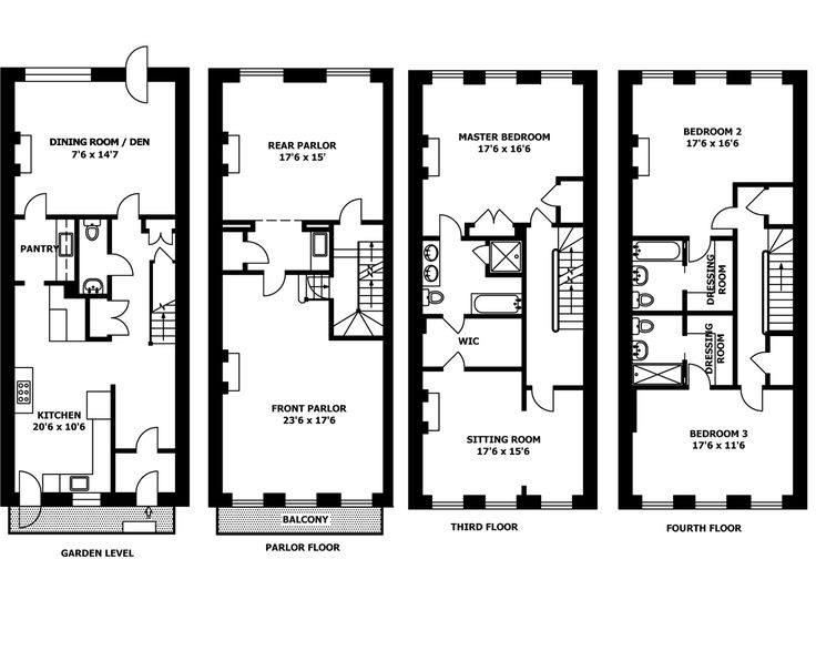 52 best images about house plans on pinterest 2nd floor for Brownstone plans