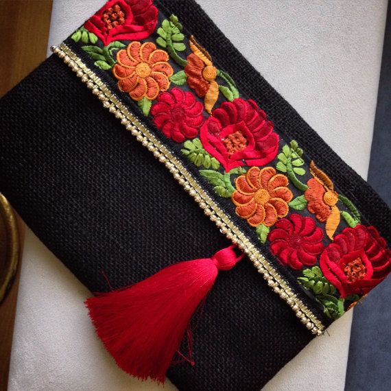 Red Roses Floral Clutch, Black Evening Clutch, Bohemian clutch, Womens bag…