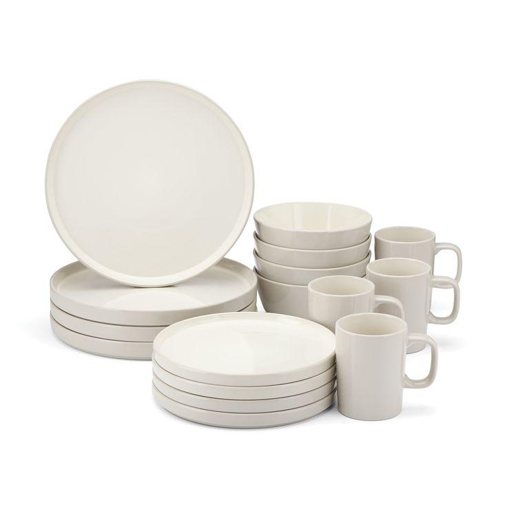 Amazon.com | Food & Wine For Gorham Modern Farmhouse 16-Piece Dinnerware Set, Barley: Dinnerware Sets