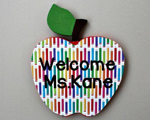 Apple Name Door Sign, Christmas Present, Teacher Name Door Sign, School Year End Gift for Teacher, Classroom Door Sign, Teacher Gift Idea