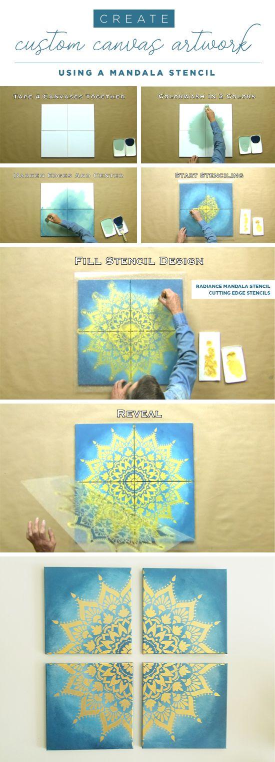 Cutting Edge Stencils shares how to stencil custom DIY artwork using the Radiance Mandala Stencil. http://www.cuttingedgestencils.com/radiance-mandala-stencil-yoga-mandala-stencils-decal.html (Diy Canvas Artwork)