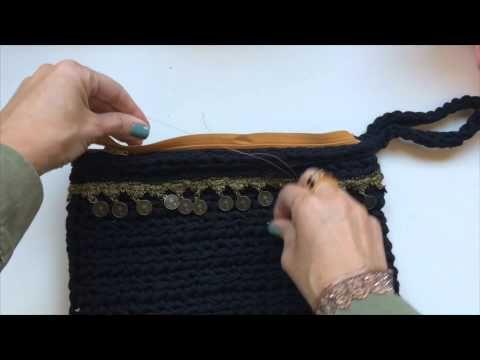 Как пришить к связанной сумочке молнию и молнию с подкладкой вручную. - Trapillo.com.ua - Магазин трикотажной и ленточной пряжи и блог о вязании