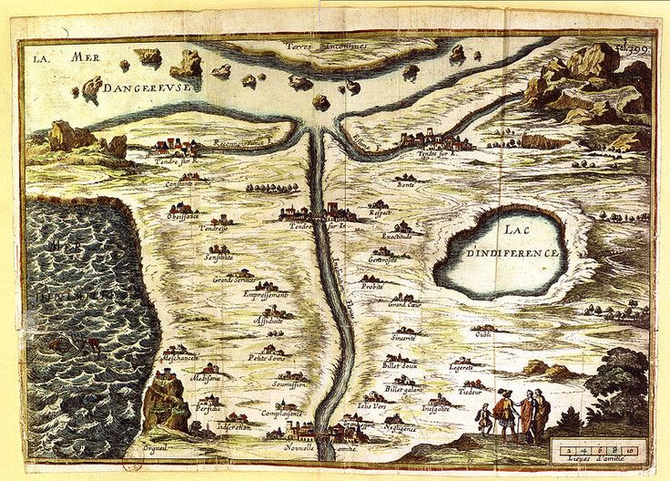 Carte de Tendre (Map of Tenderness) is a 17th-century French map by the writer Madeleine de Scudéry depicting the peaks and valleys of amorous pursuit, from the River of Inclination to Lake of Indifference to the Great Spirit.